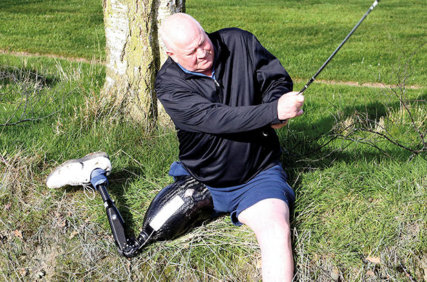 Amputee Colin Poole, who can't walk more than 20 yards without stopping, has become the bionic man of golf. The 65-year-old retired publican from County Durham stunned fellow members at his local club by beating 105 able-bodied players to win a tournament, many of them half his age.