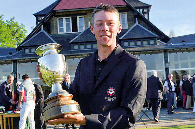 ENGLAND'S Josh Hilleard captured the French Amateur Championship in brilliant fashion, charging 18 places up the leaderboard in the final round then winning the title in a play-off.